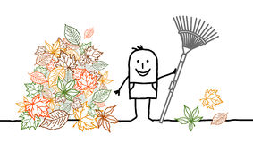 Gardening & fall. Vector hand-drawn characters line Stock Photography
