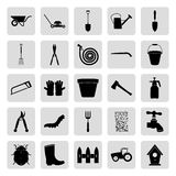 Gardening and farming black simple vector icons set Royalty Free Stock Photo