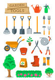 Gardening farming tools and instruments flat vector icons Stock Photo