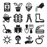 Gardening flat icons. Black Royalty Free Stock Image