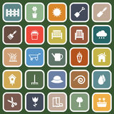 Gardening flat icons on green background Royalty Free Stock Photography