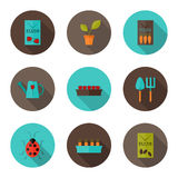 Gardening flat icons set Stock Photo