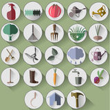 Gardening flat icons. in a white circle, with shadow. Royalty Free Stock Photo