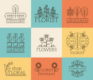 Gardening and floristry logos. Floral shop, organic boutique badge, plant eco, vector illustration Royalty Free Stock Photo