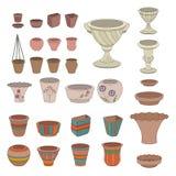 Gardening flowerpots. Pots for plants growing on Stock Photos