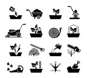 Gardening and flowers icons. Hosepipe lawnmower, wheelbarrow shovel tools vector signs Royalty Free Stock Image