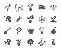 Gardening, flowers, icons, monochrome, white background. stock illustration