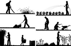Gardening foreground silhouettes. Set of eps8 editable vector silhouette foregrounds of people gardening with all figures as separate objects royalty free illustration