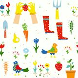 Gardening funny seamless pattern for kids with flowers, tools, birds, graphic illustration Royalty Free Stock Images
