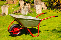 Gardening. Garden metal wheelbarrow. Royalty Free Stock Image