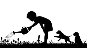 Gardening girl. Editable vector silhouette of a young girl watering her garden and two puppies with figures as separate objects Royalty Free Stock Photos