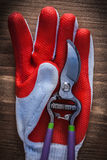 Gardening glove and metal secateurs on wood board Royalty Free Stock Image