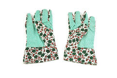Gardening gloves. New gardening gloves isolated on white background with copy space in horizontal format Royalty Free Stock Images
