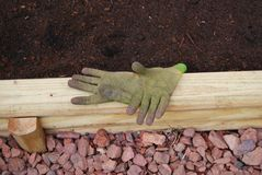Gardening Gloves. A pair of worn green gardening gloves rest palm side up on the side of a stack of landscaping timber, which support a raised planting bed Royalty Free Stock Image