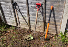 Gardening. Gloves, forks and axe in a typical garden Stock Images
