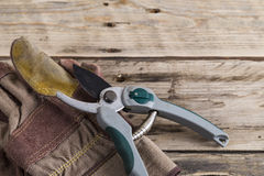 Gardening gloves with secateurs. Secateurs and gardening gloves on a bench Stock Images