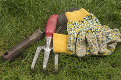 Gardening Gloves and Tools Stock Photos