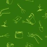 Gardening graphic art green seamless pattern illustration Stock Images