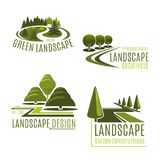 Vector icons for nature landscaping company. Gardening or green landscape design company icons set. Vector isolated green tree park, nature eco village or Stock Photography