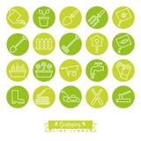 Gardening Green Round Line Icon Set Stock Photography