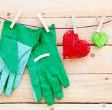 Gardening Hand Gloves. The beautyful feeling of gardening. Some hearts and  on a wooden background. Square Format. For more see my portofolio stock images