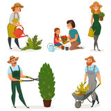 Gardening Hobby Icon Set stock illustration