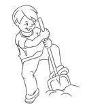 Gardening Hobby Kids Boy Outline Vector Illustration Stock Photo