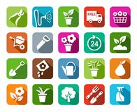 Gardening, icon, background color, shadow. Royalty Free Stock Images