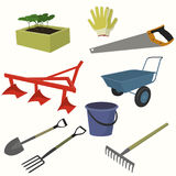 Gardening icon set. Flat style. vector illustration stock illustration