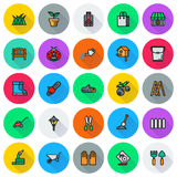 Gardening icon set  On round Background. Created For Mobile, Web, Decor, Print Products, Applications. Vector illustration Stock Photography