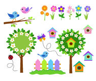 Gardening icon set. Spring Flower Garden. Stock Photos