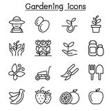 Gardening icon set in thin line style Stock Photography
