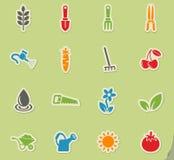 Gardening icon set Stock Photos