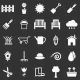 Gardening icons on black background Royalty Free Stock Photos