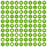 100 gardening icons hexagon green. 100 gardening icons set in green hexagon isolated vector illustration Stock Image