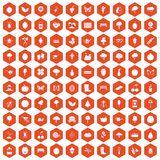 100 gardening icons hexagon orange. 100 gardening icons set in orange hexagon isolated vector illustration Royalty Free Stock Photo