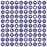100 gardening icons hexagon purple. 100 gardening icons set in purple hexagon isolated vector illustration Royalty Free Stock Images