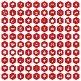 100 gardening icons hexagon red. 100 gardening icons set in red hexagon isolated vector illustration Royalty Free Stock Photo
