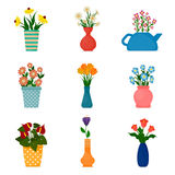 Gardening icons, houseplants in pots. Stock Photos