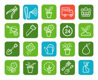 Gardening, icons, line, green background. Stock Image