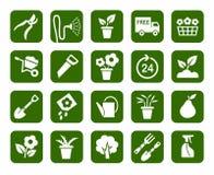 Gardening, icons, monochrome. Stock Photos