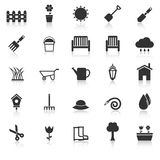 Gardening icons with reflect on white background Royalty Free Stock Photography