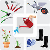 Gardening icons set. Vector illustration stock illustration