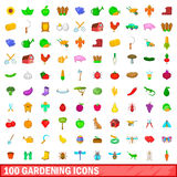 100 gardening icons set, cartoon style Royalty Free Stock Images