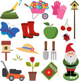 Gardening Icons. A Set of Colorful Gardening Icons Stock Photo