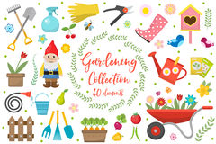 Gardening icons set, design elements. Garden tools and decor collection, isolated on a white background. Vector Stock Photography