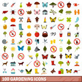 100 gardening icons set, flat style Royalty Free Stock Photography