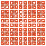 100 gardening icons set grunge orange. 100 gardening icons set in grunge style orange color isolated on white background vector illustration Stock Images