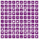 100 gardening icons set grunge purple. 100 gardening icons set in grunge style purple color isolated on white background vector illustration Royalty Free Stock Photo