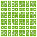 100 gardening icons set grunge green. 100 gardening icons set in grunge style green color on white background vector illustration royalty free illustration